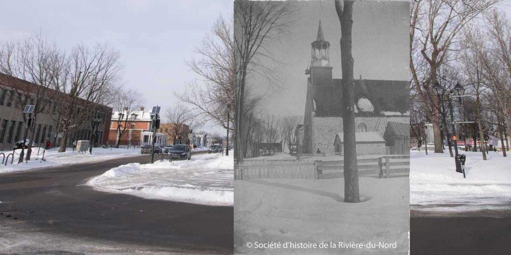 La première église de Saint-Jérôme, celle où le curé Labelle accueillait ses paroissiens, était située dans le parc Labelle. SHRN, Fonds famille Prévost, P020,S06,D02,P106; photographe inconnu, 12 février 1900.